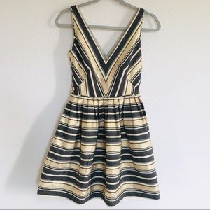 J. Crew Gold & Black Striped Flare Mini Dress